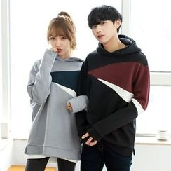 TOMONARI - Couple Hooded Color-Block Neoprene Pullover