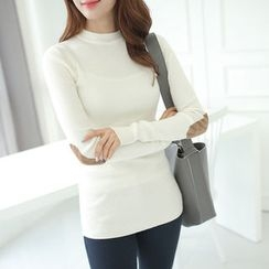 CLICK - Mock-Neck Elbow-Patch Ribbed T-Shirt