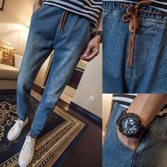 Alvicio - Drawstring Denim Jogger Pants
