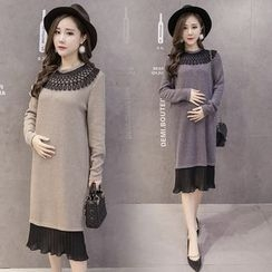 Mapple - Long-Sleeve Paneled Knit Maternity Dress