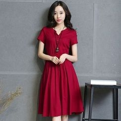 AiSun - Split-neck Short-Sleeve Dress