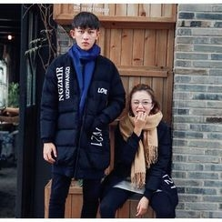 Simpair - Couple Matching Lettering Long Padded Jacket