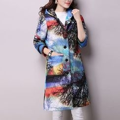 Frockly - Printed Hooded Long Padded Jacket