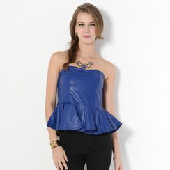 59 Seconds - Faux-Leather Ruffled-Hem Tube Top