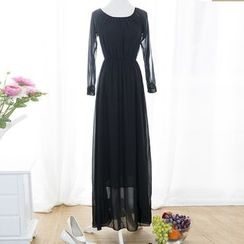 Fashion Street - Off-shoulder Long-Sleeve Dress