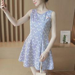 Munai - Sleeveless Striped Printed Cutout-Back Dress