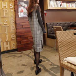 NIPONJJUYA - Sleeveless Glen-Plaid Shift Dress