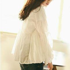 Suyisoda - 镂空蕾丝灯笼袖衬衫