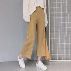 Windflower - Wide-Leg Cropped Knit Pants