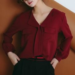 SUYISODA - Plain Long-Sleeve Blouse