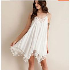 Fundae - 蕾絲拼接多帶雪紡連衣裙