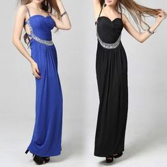 AIXI - Embellished Spaghetti Strap Sheath Evening Gown