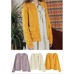 GOROKE - Flap-Pocket Open-Front Cardigan