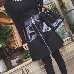 Baliz - Zip Front Faux Suede A-line Skirt