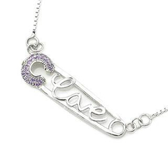 MBLife.com - 925 Sterling Silver Pin Brooch Design Purple CZ Necklace (16'), Women Girl Jewelry in Gift Box