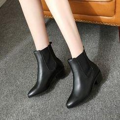 Pangmama - Paneled Chunky-Heel Ankle Boots