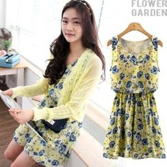 Flower garden Gathered-Waist Floral-Patterned Dress