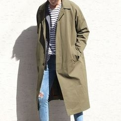 Bay Go Mall - Single-Breasted Lightweight Trench Coat