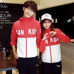 CASSY - Color-Block Hooded Couple Matching Jacket