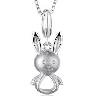 Bling Bling - Hypoallergenic Platinum Plated 925 Silver Little Rabbit Bunny Charm (Necklace Is Not Included)