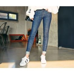 HOTPING - Stitched-Detail Skinny Jeans