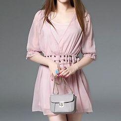 Queen Mulock - Elbow-Sleeve Beaded Dress With Camisole