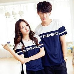 Lovebirds - Short-Sleeve Paneled Couple T-Shirt