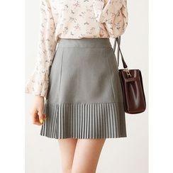 J-ANN - Pleated-Hem A-Line Mini Skirt