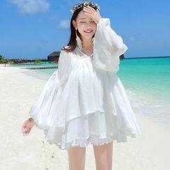 Morning Dew - Set: Lantern Sleeve Chiffon Cover Up + Camisole