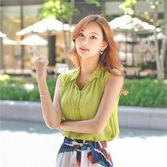 Styleberry - Sleeveless Chiffon Shirt
