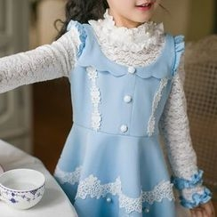 Candy Rain - Kids Crochet Trim Lace Panel Long Sleeve Dress