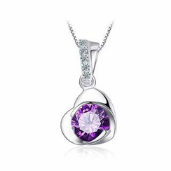 BELEC - 925 Sterling Silver Heart-shaped Pendant with Purple Cubic Zircon and Necklace - 45cm