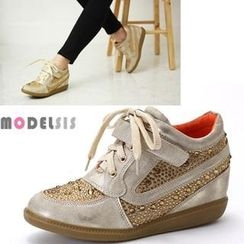 MODELSIS - Rhinestone Hidden Wedge Sneakers