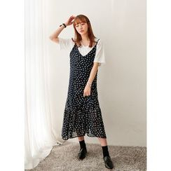 J-ANN - Spaghetti-Strap Pattern Long Dress