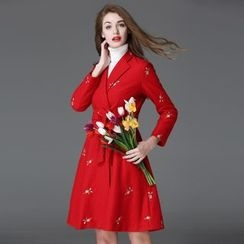 Elabo - Floral Embroidered Double-Breasted Wool Blend Coat