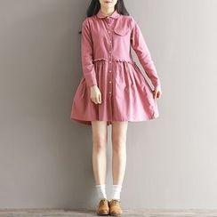 Clover Dream - Frill Trim Collared Long Sleeve Dress