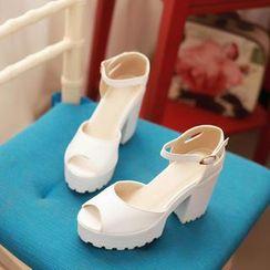 Pastel Pairs - Ankle Strap Platform Chunky Heel Sandals
