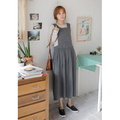 GOROKE - Pleated Cotton Long Jumper Dress