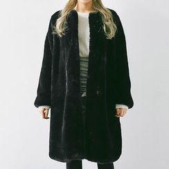chuu - Open-Front Long Faux-Fur Coat