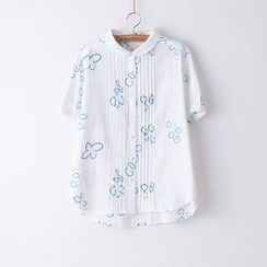 Rosadame - Embroidered Short Sleeve Shirt