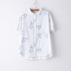 Rosadame - 短袖刺繡襯衣