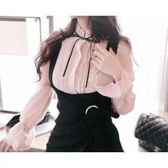 Marlangrouge - Contrast Ribbon-Accent Pintuck-Detail Blouse