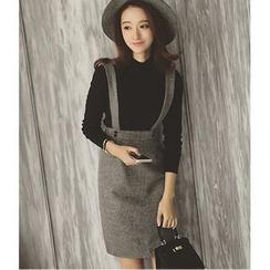 MAVIS - Plain Suspender Skirt