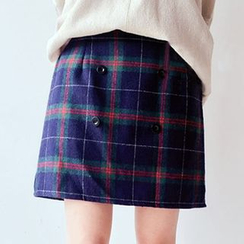 Meimei - Plaid A-Line Skirt