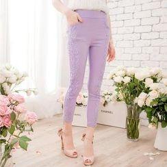 Tokyo Fashion - Lace-Appliqué Cropped Skinny Pants
