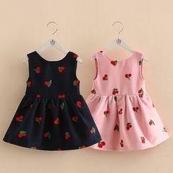 Seashells Kids - Kids Cherry Embroidered Sleeveless Dress