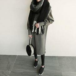 NIPONJJUYA - Balloon-Sleeve Brushed-Fleece Lined Pullover Dress
