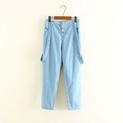 Mushi - Buttoned Suspender Jeans