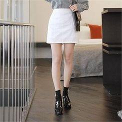 CHICLINE - A-Line Linen Miniskirt