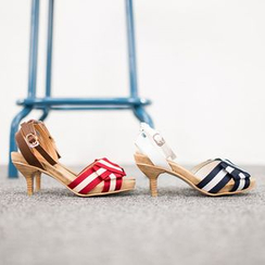 VIVIER - Contrast-Trim Ankle-Strap Kitten-Heel Sandals